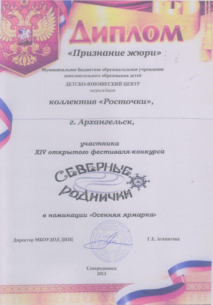Диплом признание жюри участника XIV открытого фестиваля-конкурса Северные Роднички Осенняя ярмарка