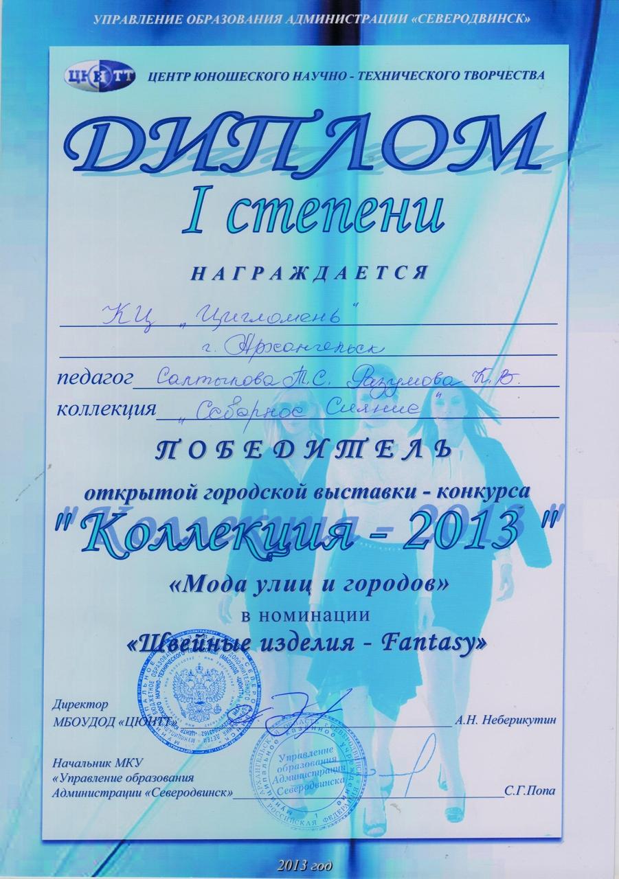 Диплом победителя открытой городской выставки-конкурса Коллекция - 2013