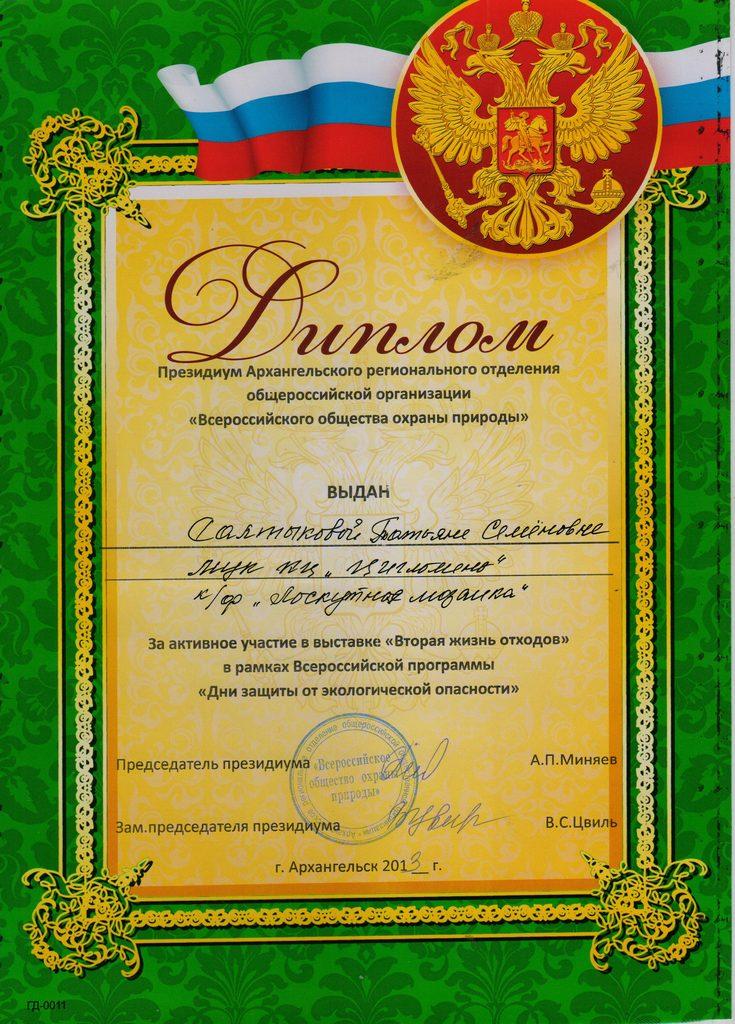 Диплом Салтыковой Т.С. за активное участие в выставке Вторая жизнь отходов