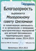 Благодарность Молодёжному совету Цигломени за плодотворную деятельность в творческом сезоне2014-2015